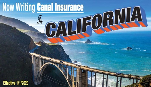 Now Writing Canal Insurance to California postcard