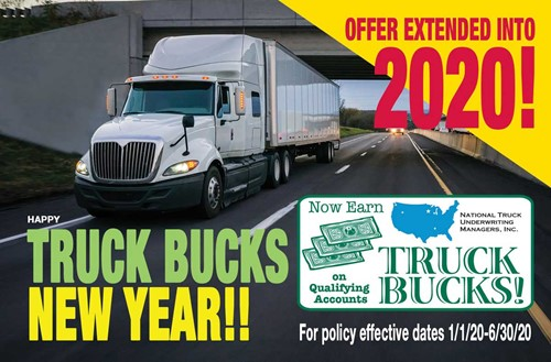 Truck Bucks Promotion extended through 6/30/20